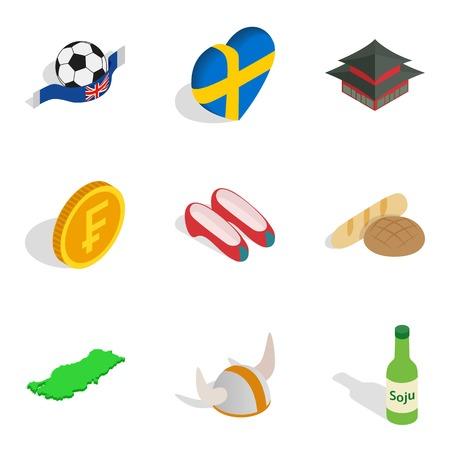 Fatherland icons set, isometric style