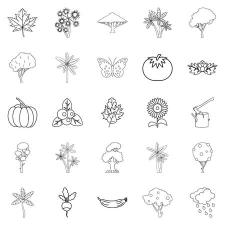 World of nature icons set, outline style Standard-Bild - 94533847