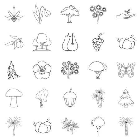 Vielzahl von Floraikonen eingestellt, Entwurfsart Standard-Bild - 94533849