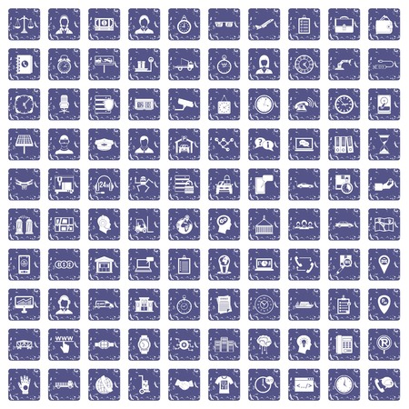 100 working hours icons set grunge sapphire