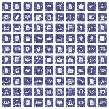 100 work paper icons set in grunge style sapphire color isolated on white background vector illustration.