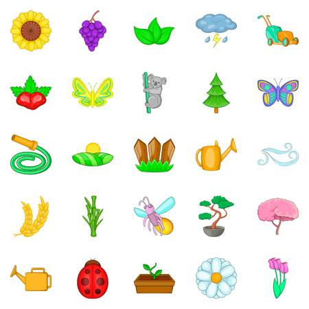 Flowering icons set. Cartoon set of 25 flowering vector icons for web isolated on white background