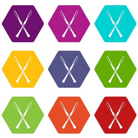 Surgeon scalpels icon set many color hexahedron isolated on white vector illustration