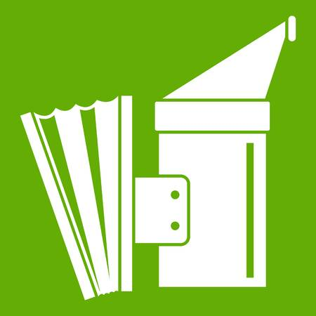 Fumigation icon white isolated on green background. Vector illustration Vectores