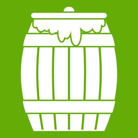 Honey keg icon white isolated on green background. Vector illustration Illustration
