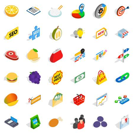Available icons set, isometric style