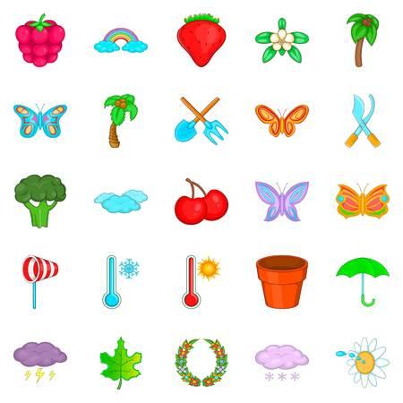 Flowering plant icons set, cartoon style Standard-Bild - 94381022