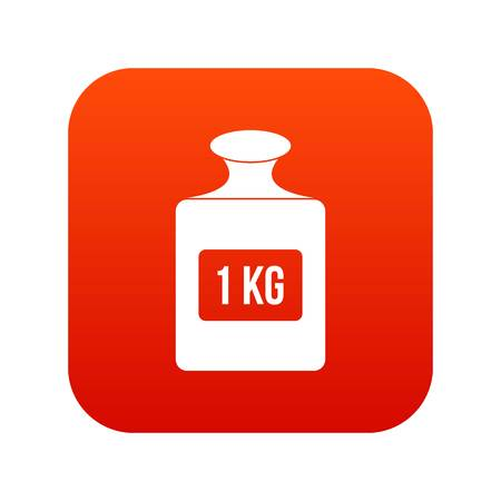 One kilogram weight icon digital red for any design isolated on white vector illustration.