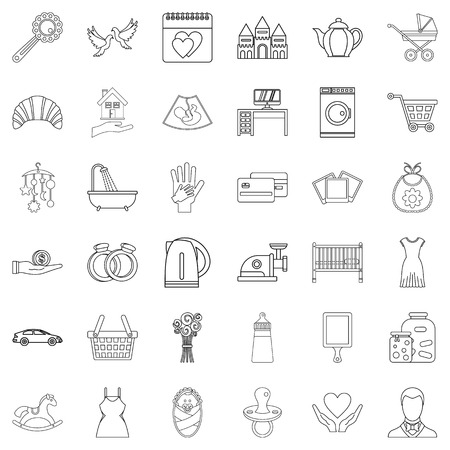 Outline set of 36 domesticity vector icons