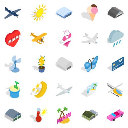 Flier icons set. Isometric set of 25 flier vector icons for web isolated on white background