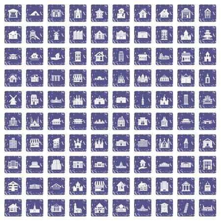 100 building icons set grunge sapphire