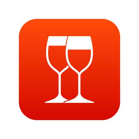 Wine glasses icon digital red for any design isolated on white vector illustration Illustration