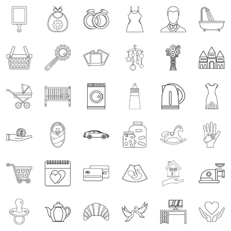 Nepotism icons set, outline style