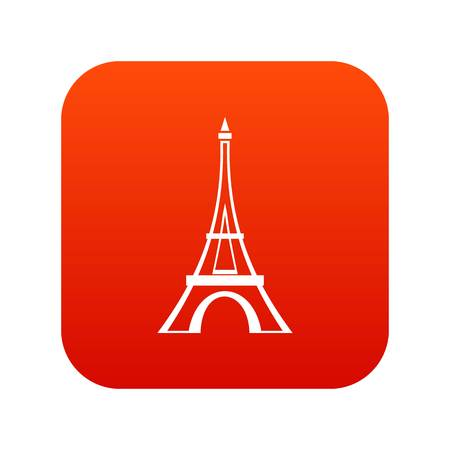 Eiffel tower icon digital red