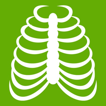 Rib cage icon green Vector illustration.