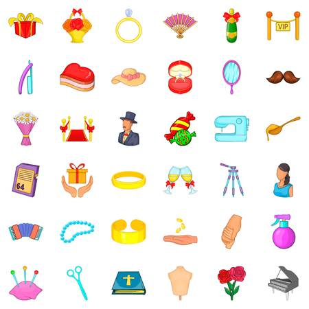 Marriage of convenience icons set, cartoon style