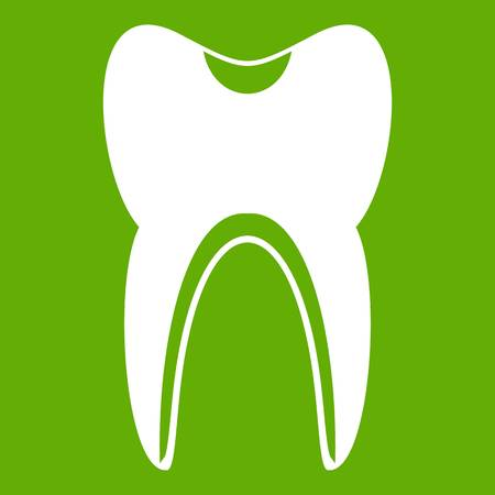 Tooth icon white isolated on green background. Vector illustration