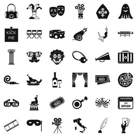 Dramatization icons set. Simple set of 36 dramatization vector icons for web isolated on white background.