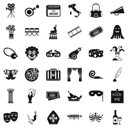 Scene icons set. Simple set of 36 scene vector icons for web isolated on white background Illustration