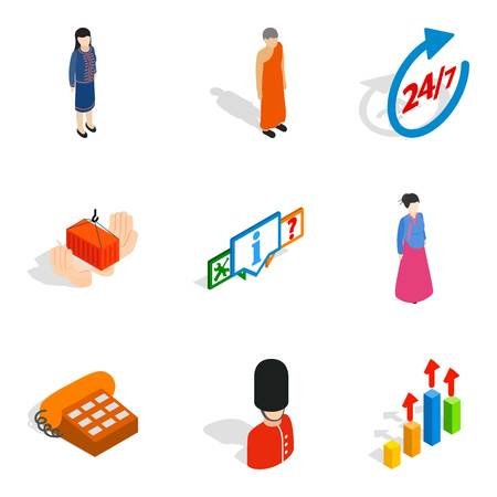 Human capacity icons set. Isometric set of 9 human capacity vector icons for web isolated on white background Illustration