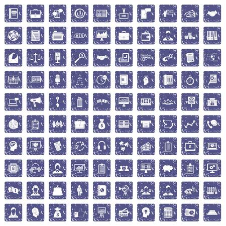 100 business people icons set in grunge style sapphire color isolated on white background vector illustration