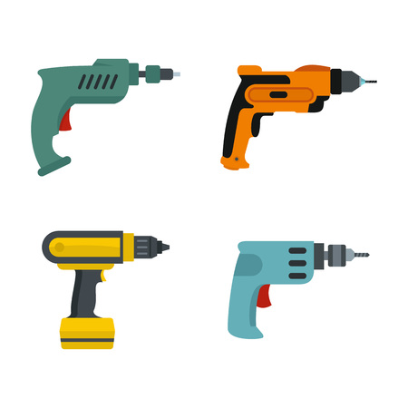 Hand drill icon set. Flat set of hand drill vector icons for web design isolated on white background