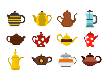 Teapot icon set, flat style Illustration