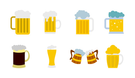 Glass of beer icon set, flat style Illustration