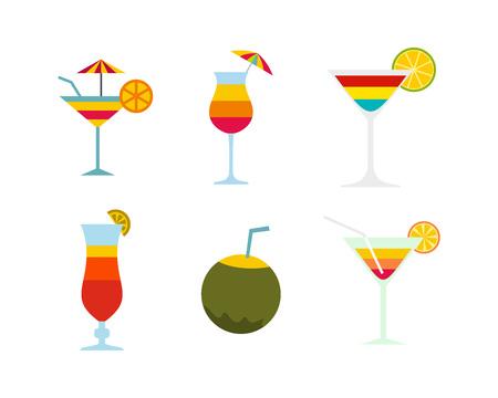 Cocktail icon set, flat style illustration.