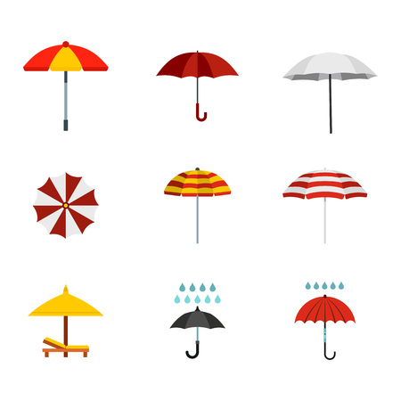 Umbrella icon set, flat style illustration.