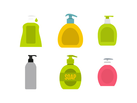 Dispenser icon set, flat style