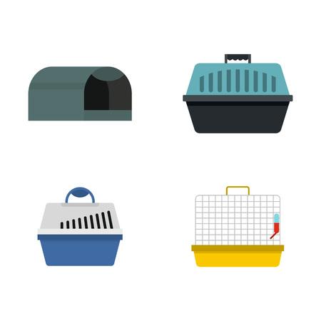 Pet box icon set, flat style illustration.