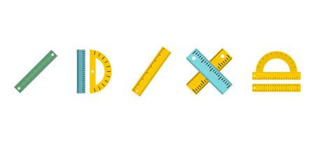 Ruler icon set, flat style illustration.