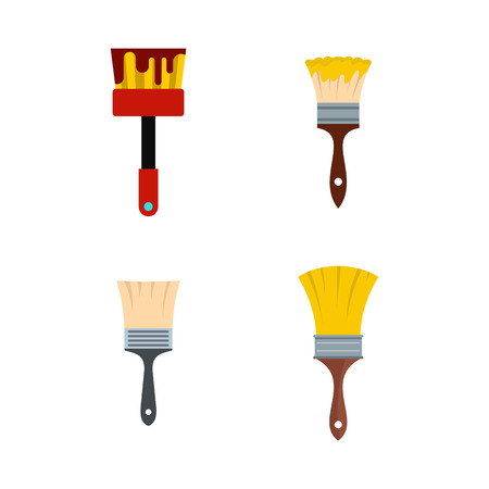 Brush icon set, flat style illustration.