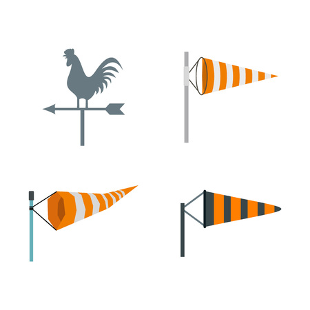 Vane icon set, flat style illustration.