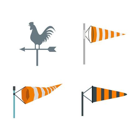 Vane icon set, flat style illustration.