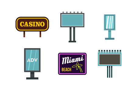 Street banner icon set, flat style