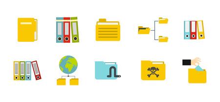 Folder icon set, flat style illustration.