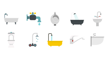 Bathroom icon set. Flat set of bathroom vector icons for web design isolated on white background