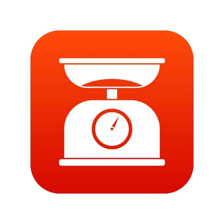 Kitchen scales icon digital in red square illustration.
