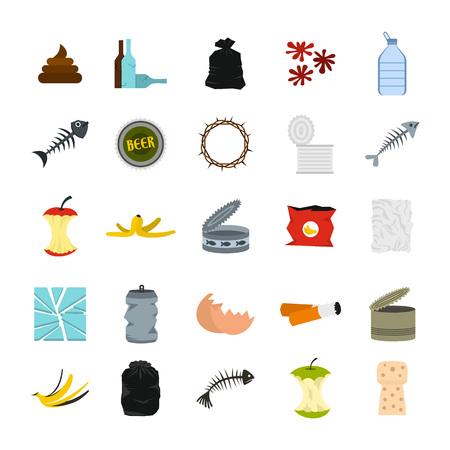 Garbage icon set, flat style  イラスト・ベクター素材