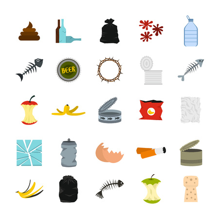 Garbage icon set, flat style Illustration
