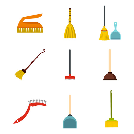 Cleaning tools icon set, flat style