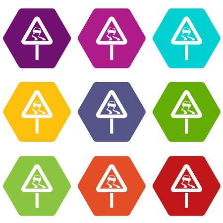 Slippery when wet road sign icon set in color hexahedron.