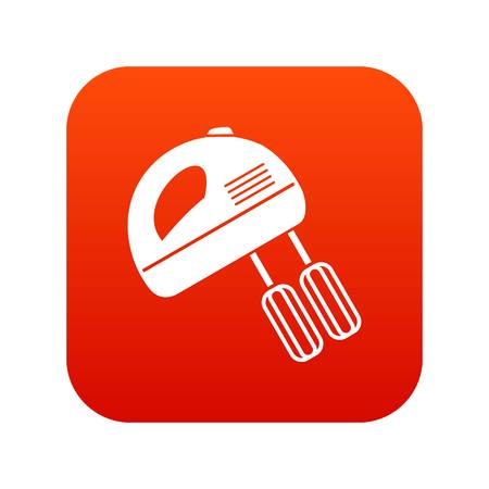 Electric mixer icon digital red Illustration