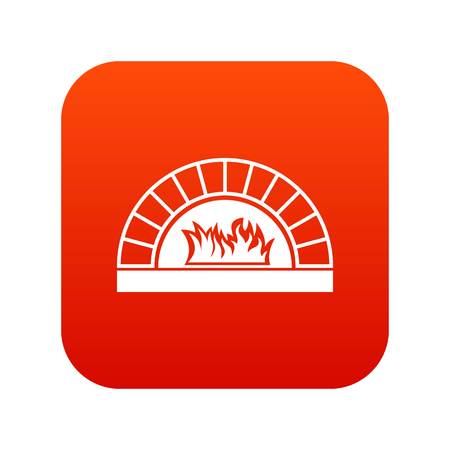 Pizza oven with fire icon digital red Illustration