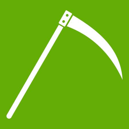 Scythe icon over green background.