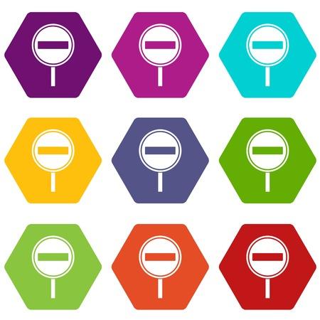No entry sign icon set color hexahedron