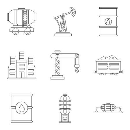 Diligence icons set, outline style Vettoriali