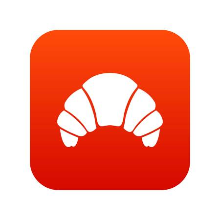 Croissant icon digital red